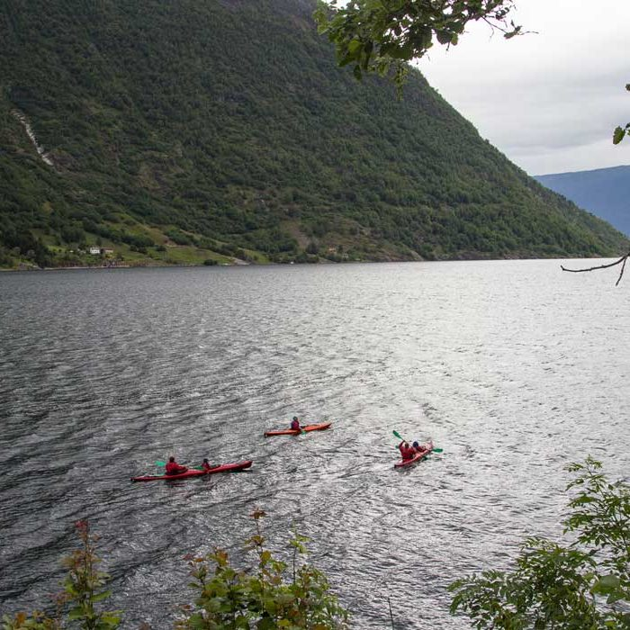 people kayaking on fjord