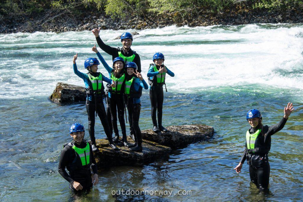 happy family rafting norway